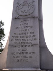 A statue in Garfield Park that commemorates Confederate