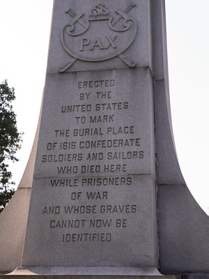 A statue in Garfield Park that commemorates Confederate soldiers who died in Indiana POW camps, Wednesday, August 16, 2017.