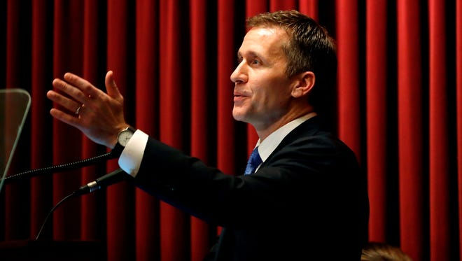 Missouri Gov. Eric Greitens delivers the annual State of the State address to a joint session of the Missouri House and Senate on Jan. 10, 2018, in Jefferson City, Mo.