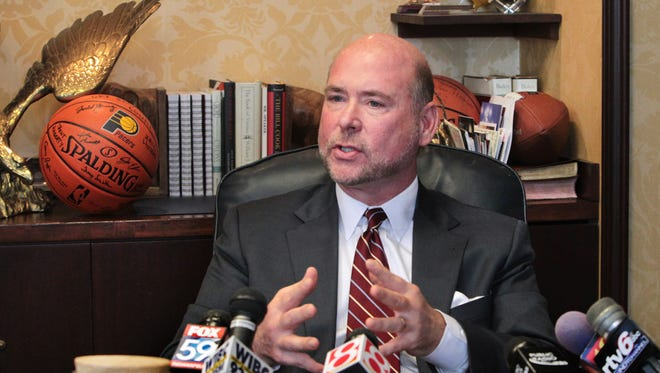 Ind. Speaker of the House Brian Bosma, R-Indianapolis, holds a media availability for reporters, who asked questions about the proposed same-sex marriage ban.