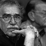 In this 2003 photo released by the Fundación Nuevo Periodismo Iberoamericano (FNPI), Colombian Nobel laureate Gabriel Garcia Marquez, left, is seen in Monterrey, Mexico. Behind is Colombian journalist Jose Salgar. Garcia Marquez died on Thursday at his home in Mexico City.  The FNPI was founded by Garcia Marquez.