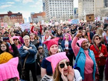 Marchers rally for women's rights in Nashville, protest against President Trump's policies