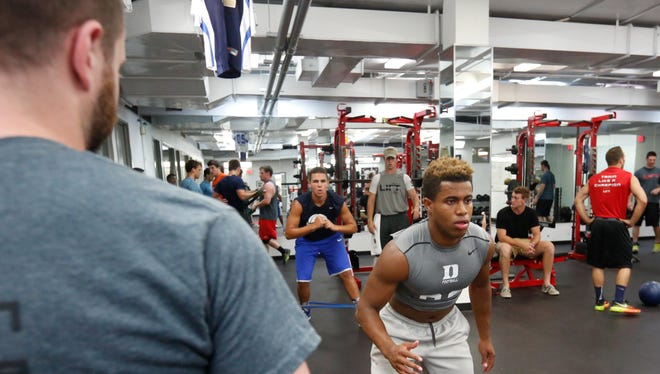 High school and college athletes work out LIFT on the campus of SUNY Purchase in Purchase on Tuesday, June 07, 2016.