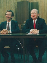 Larry Holmes, left, and Bob Hunter enjoy a lighter moment during their 1986 election to succeed Gary Thompson as state representative. Hunter twice beat Holmes, including the general election that fall, and went on to serve for 20 years in Austin.