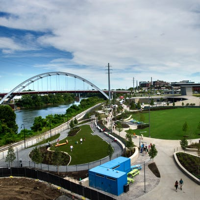 An overall view of  the city's new riverfront music
