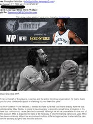 The Grizzlies sent season ticket holders an email letting
