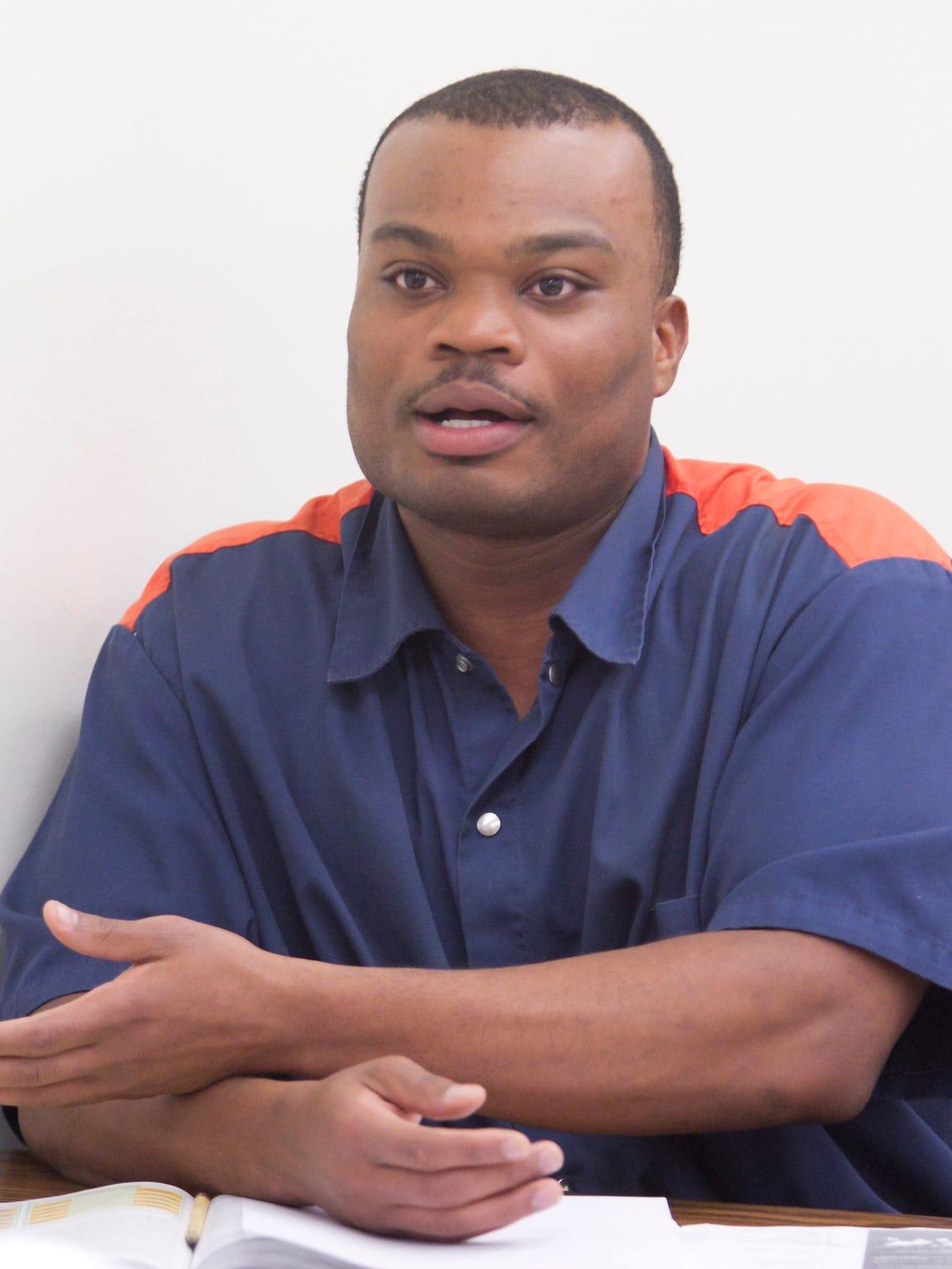 Bryan Stewart, an inmate student in a marketing class