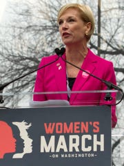 Cecile Richards, president of the Planned Parenthood Federation of America, speaks Jan. 21, 2017, to the crowd during the Women's March.