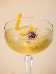 A Lavender martinez, lavender-infused gin, maraschino
