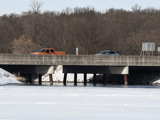 Minnesota Highway 10 crosses the channel between Little Rock Lake and the Mississippi river shown Wednesday, March 7, near Rice.