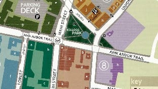 A map of parking in downtown Plymouth.
