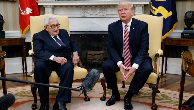 President Donald Trump meets with Dr. Henry Kissinger, former Secretary of State and National Security Advisor under President Richard Nixon, in the Oval Office of the White House, Wednesday, May 10, 2017, in Washington.