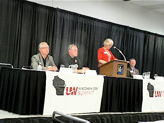 "UW-Madison CALS Dean Kate VandenBosch moderated the ""Addressing Challenges"" panel."