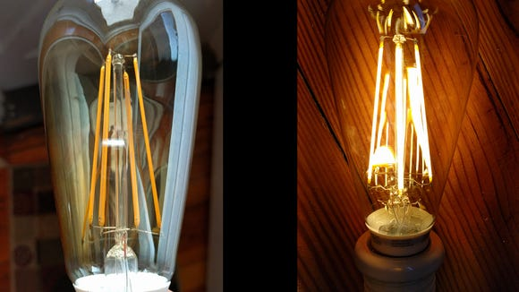 A detail of the LED vintage bulb. It's hard to tell it is an LED bulb once it is lit.
