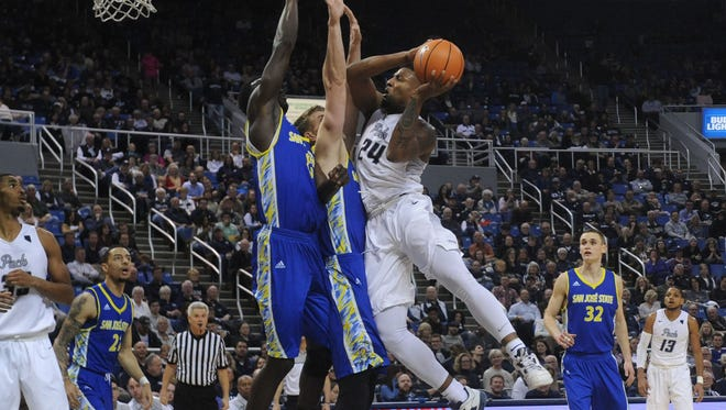 Nevada takes on San Jose State during their basketball game at Lawlor Events Center in Reno on Feb. 21, 2018.