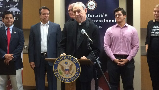 The Rev. Howard Lincoln, priest at Sacred Catholic Church in Palm Desert, is among the speakers at a press conference held by Congressman Dr. Raul Ruiz, far left, Saturday, Sept. 23, 2017, at Sacred Heart. Also attending and speaking were, from left, the Rev. Gerald Sharon of Hope Lutheran in Palm Desert; the Rev. Guy Wilson of Our Lady of Soledad in Coachella; Oscar Perez, 18, of Indio whose family migrated to the valley when he was a boy; and Megan Beaman Jacinto, a local immigration attorney.