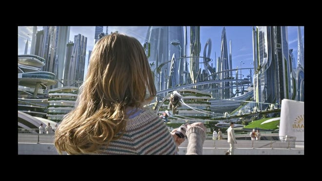 """Shown is a scene from the Disney sci-fi/fantasy film """"Tomorrowland,"""" which stars Britt Robertson, George Clooney and Hugh Laurie."""