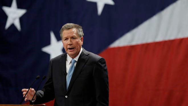 Ohio Gov. John Kasich delivers his State of the State address at the Performing Arts Center Monday, Feb. 24, 2014, in Medina, Ohio.
