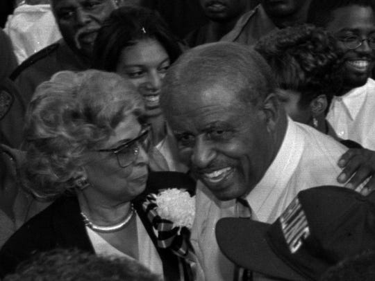 Grambling football coach Eddie Robinson and his wife,