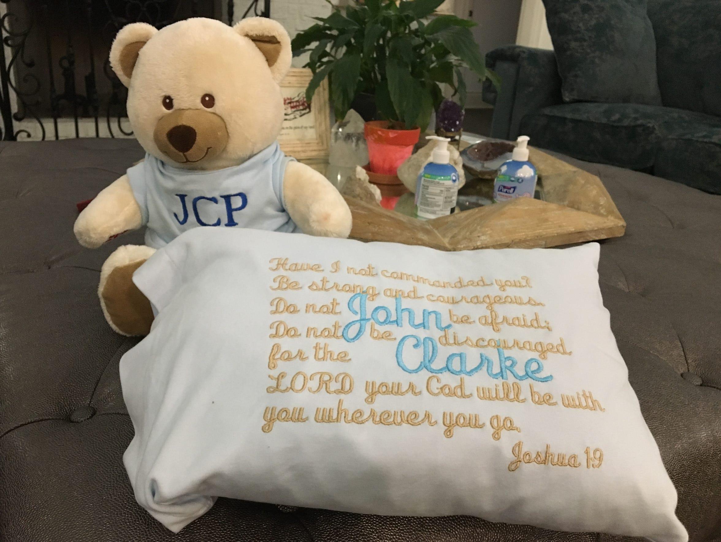 A teddy bear featuring a recording of John Clarke's