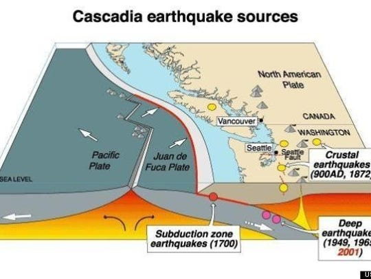 Cascadia quake map