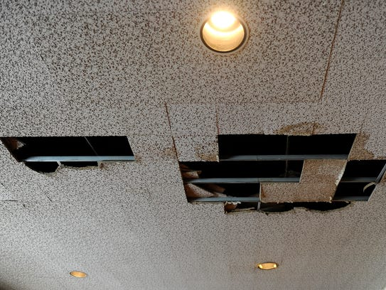 A lot of the ceiling tiles at the Abilene Convention