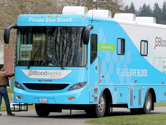 The new Bloodworks Northwest bloodmobile at the Olympic