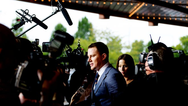 Channing Tatum speaks with members of the media during the Regal Entertainment Group's 2017 red-carpet fundraiser benefiting Variety of East Tennessee at Regal Pinnacle Stadium 18 in Knoxville, Tennessee on Wednesday, August 9, 2017.Variety ChildrenÕs Charity of Eastern Tennessee helps children with disabilities or who are at risk. This year's event featured a visit by actor Channing Tatum.