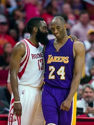 James Harden jokes with Kobe Bryant during a 2016 game