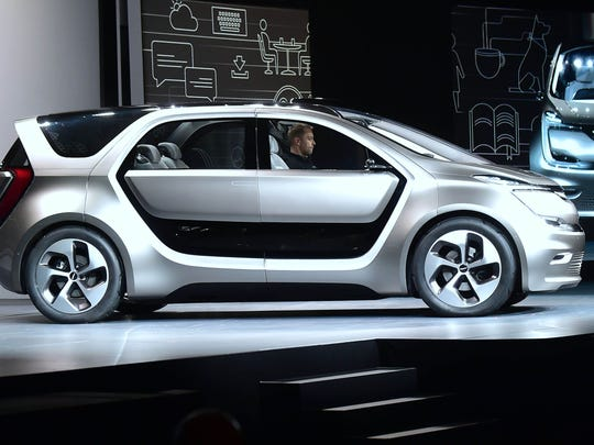 The Chrysler Portal concept, a semi-autonomous electric minivan, is unveiled during the 2017 Consumer Electronics Show in Las Vegas in January 2017.