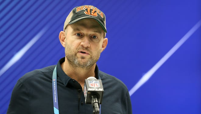 Bengals Director of Player Personnel Duke Tobin speaks to the media, Wednesday, Feb. 28, 2018, at the NFL Combine in Indianapolis.