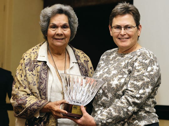 Alicia Chacón, Texas Women's Hall of Fame member, former El Paso County Judge and former president and CEO of the United Way of El Paso, presented the Alicia R. Chacón Award to Emily Stuessy of the Jewish Family & Children's Services on Monday during the 2015 United Way luncheon at the El Paso Marriott Hotel.