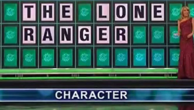 With only the letter E on the Wheel of Fortune board, a contestant guessed 'The Lone Ranger' and won big.