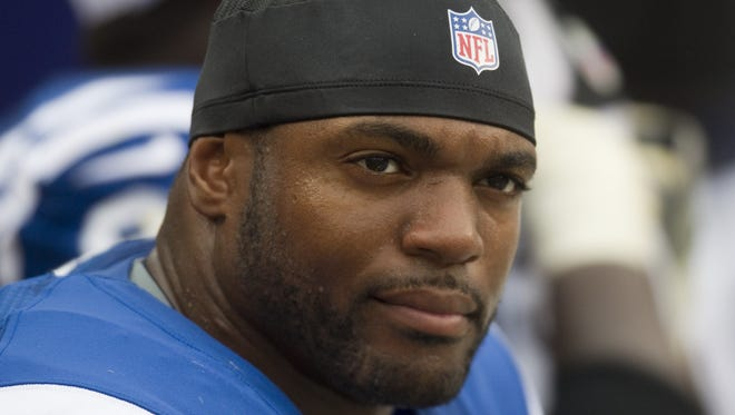 Dwight Freeney, then a defensive end for the Indianapolis Colts, was shown on the sidelines in 2012.
