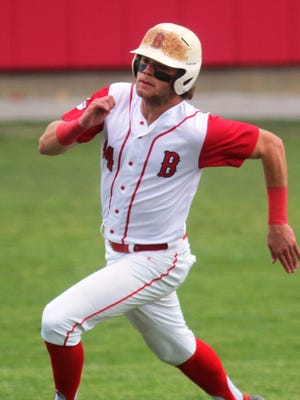 Beechwood senior Ethan Stringer races to third and would score on the play after Brett Slusher's triple in the first inning as Beechwood hosts Covington Catholic in baseball April 26, 2016 at Beechwood HS, Fort Mitchell KY. The game was suspended by rain after two innings.
