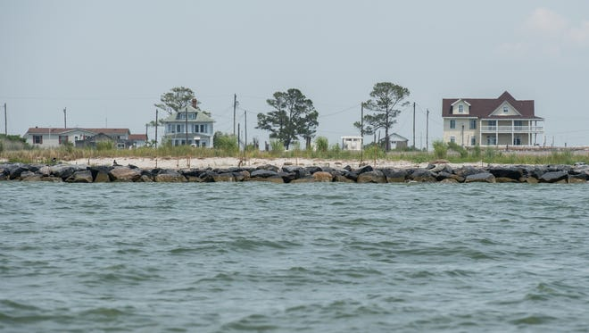 A view of a structure built to prevent beach erosion on Smith Island on Wednesday, July 12, 2017.