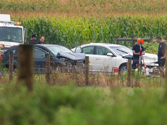 Emergency crews and the Lebanon County Accident Reconstruction Team investigate the scene of Tuesday morning's two-vehicle accident on Colebrook Road between Rocherty and Spangler roads in North Cornwall Township.