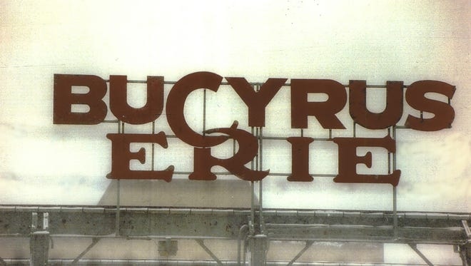 """With its stylized letter """"C"""" hooked through the letter """"R"""", the distinctive Bucyrus-Erie Co. sign was a South Milwaukee landmark."""
