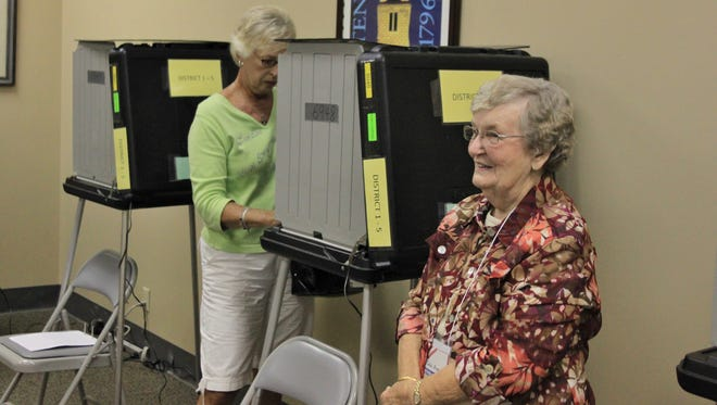Grace Tomkins of Gallatin casts her vote in 2012 while voting official Robbie Fry stands by.