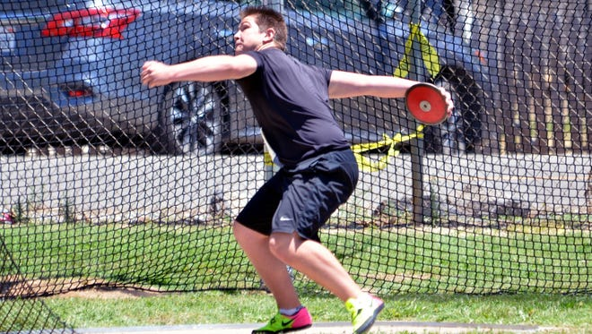 Payton Fuller throws the discus over the weekend during the USA Track and Field Pacific Association championships at Riverbank High School. The incoming West Valley High School junior  won first place in the discus, javelin and shot put competitions.