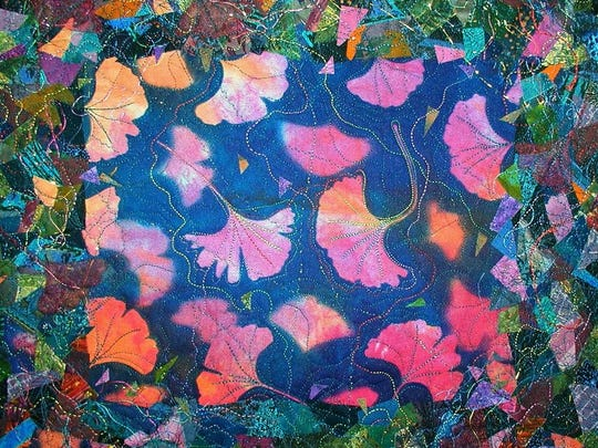 """Two Gingkos"" by Pat Kroth, who is showing her quilts and silk scarves in the Door County Wearable Art Show on Oct. 1-2."