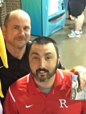 Shane Hillard, right, was named the next head coach for the Richmond High School girls basketball team after his good friend, and former head coach, Casey Pohlenz, left, passed away June 1.