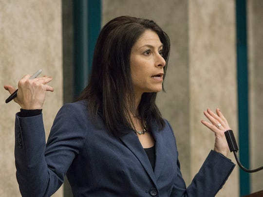 Dana Nessel, a candidate to become Michigan attorney general, addresses a crowd in Canton.