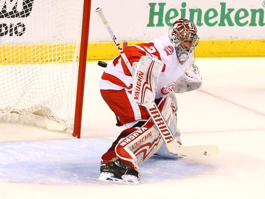 Detroit Red Wings goalie Petr Mrazek (34) gives up