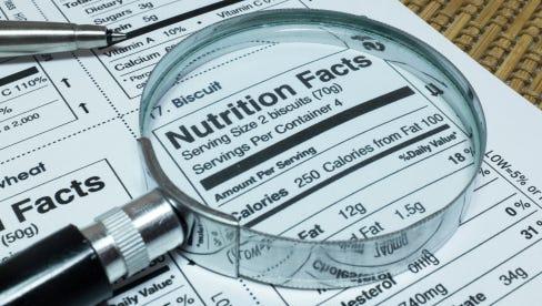 Nutrition labels.