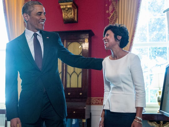 President Barack Obama meets with Ann Marie Sastry,