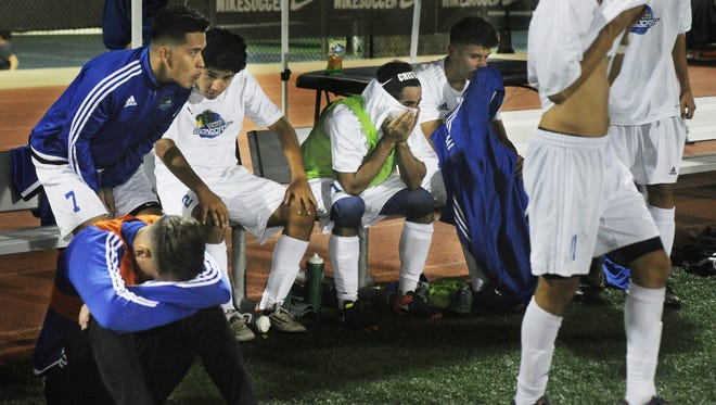 As time runs out disappointment abounds for the Oxnard College mens soccer team as the defending champs lose 2-1 to Fresno City College. The CCCAA mens semifinal was played at the Ventura College Sportsplex on Friday night.
