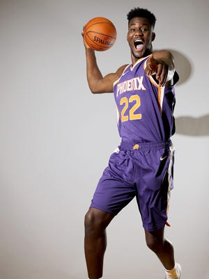 Deandre Ayton of the Phoenix Suns poses for a portrait during the 2018 NBA Rookie Photo Shoot at MSG Training Center on August 12, 2018 in Tarrytown, New York.