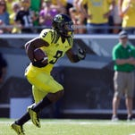 Sep 19, 2015; Eugene, OR, USA; Oregon Ducks wide receiver Byron Marshall (9) runs the ball against the Georgia State Panthers at Autzen Stadium. Mandatory Credit: Scott Olmos-USA TODAY Sports