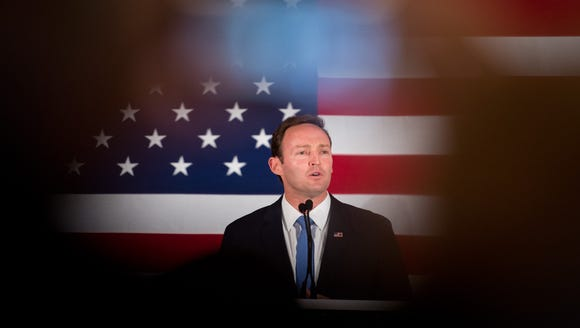U. S. Rep. Patrick Murphy thanks the crowd of his supporters